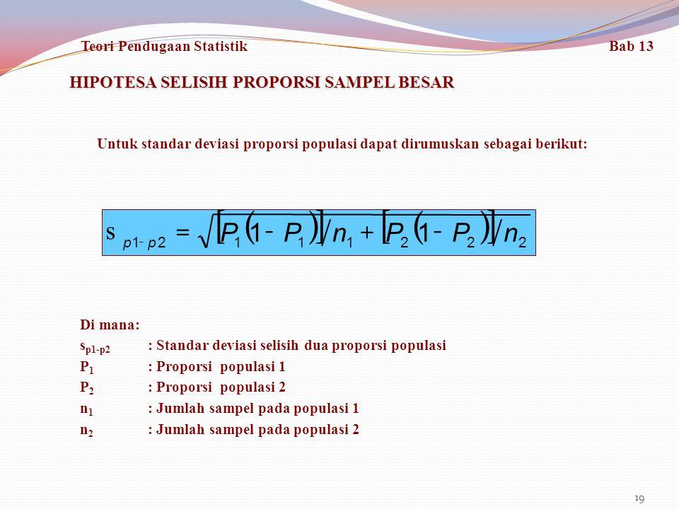 [ ] ( ) n P - + = s HIPOTESA SELISIH PROPORSI SAMPEL BESAR